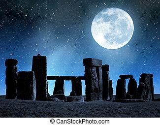 Historical monument Stonehenge in night, England, UK