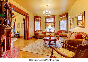 Historical old antique living room interior in American house.