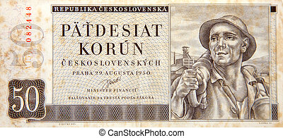 Historical paper money - 50 czechoslovak crowns