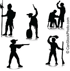 historical people vector silhouette