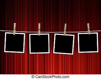 Old Polaroid Film Blanks Hanging on a Rope Held By Clothespins. Entertainment template