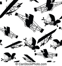 historical planes - Seamless pattern with historical planes