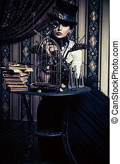 historical - Portrait of a beautiful steampunk woman over...