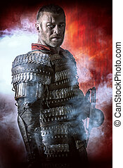 historical - Portrait of a courageous ancient warrior in...