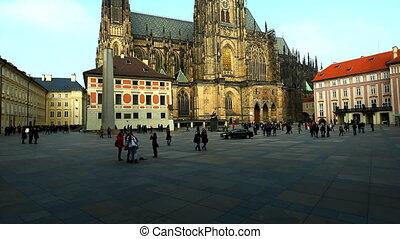 Historical Prague square and tourist walk around