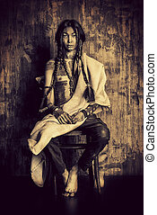 historical project - Art portrait of the American Indian. ...