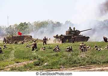 Historical reenactment of WWII in Kiev, Ukraine - KIEV,...