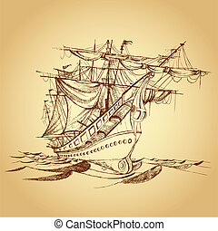 Historical Ship - illustration of drawing of historical ship...