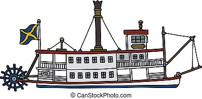 Hand drawing of a classic steam paddle riverboat