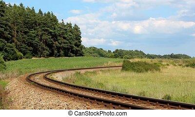 Historical steam train goes around