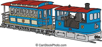 Historical steam tramway - Hand drawing of a historical blue...