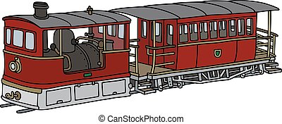 Historical steam tramway - Hand drawing of a vintage dark...