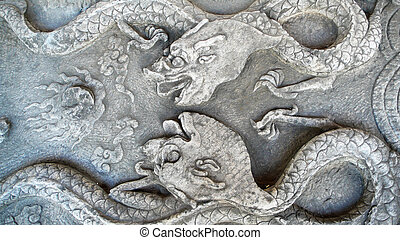 Historical stone carvings of dragon