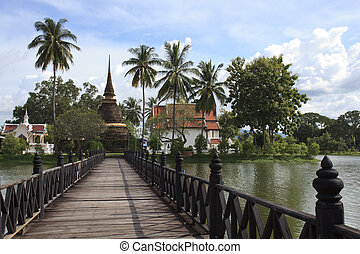 Historical temple park in Thailand.