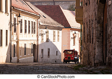 Historical Town in Bratislava - Tourist train in an...