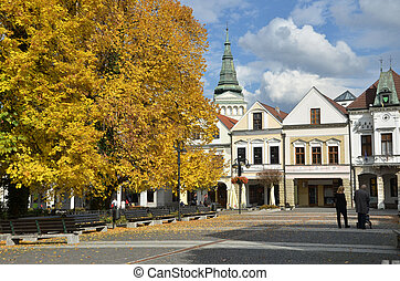 Historical town square in autumn, Zilina, Slovakia