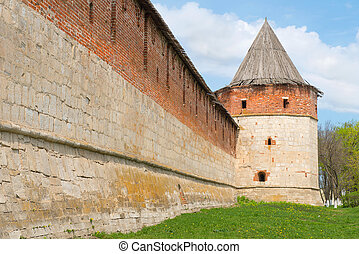 Historical town Zaraysk in Russia, tower of medieval fortress (Kremlin).