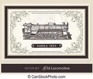 historical, trains - vector set