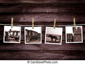 Historical turkish house photo concept. Old Polaroid Film Blanks Hanging on a Rope Held By Clothespins