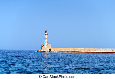 Historical Venetian lighthouse in Chania, Crete.