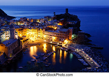 Historical Village Vernazza in the Night, Cinque Terre,...