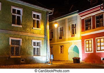 historický, centrum, o, sighisoara, v noci