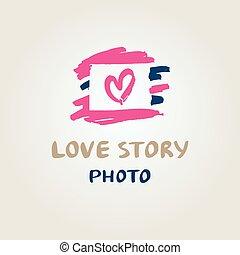 historie, constitutions, logo, fotografi, illustration, hånd, vektor, stram, heart.