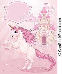 historie, fairy, slot, enhjørning