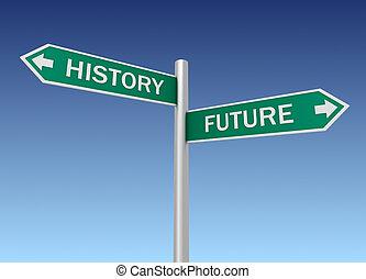 historie, fremtid, vej underskriv