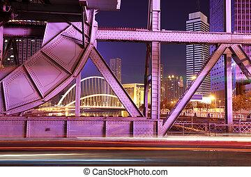 historique, acier, pont, de, nuit