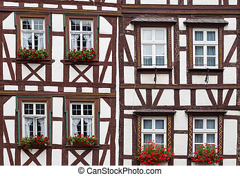 historique, allemagne, maisons, demi-timbered