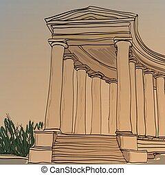 historique, architecture, colonnade