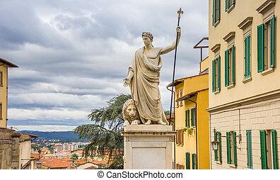 historique, arezzo, centre, statue, marbre