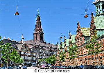 historique, centre, ville, copenhague