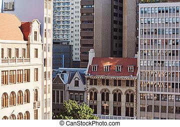historique, et, moderne, bâtiments, dans, les, en ville, de, a, ville