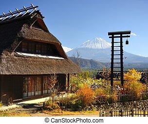 historique, japonaise, huttes