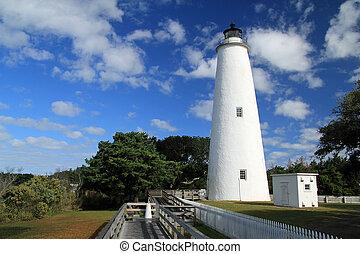 historique, ocracoke, lumière