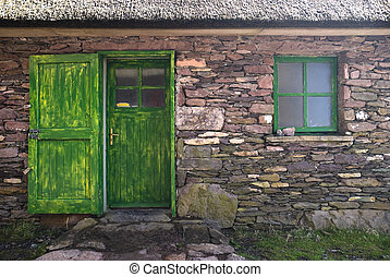 historique, petite maison, porte, et, fenêtre