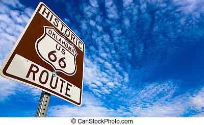 historique, routez-en 66, panneaux signalisations, sur, a, ciel bleu