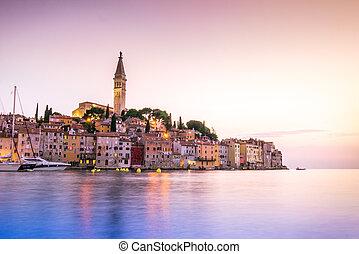 historique, rovinj, pendant, coucher soleil, croatie