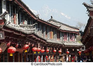 historisch, stad, van, lijiang, wereld, erfenis,...