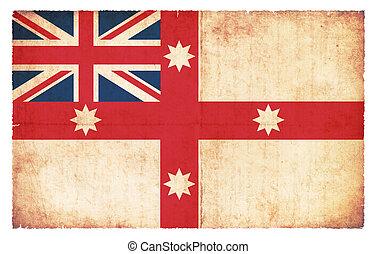 historisch, vlag, australië, grunge, (1830)