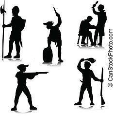 historische , leute, vektor, silhouette