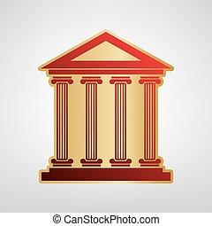 historisches gebäude, illustration., vector., rotes , ikone, auf, gold, aufkleber, an, hellgrau, hintergrund.
