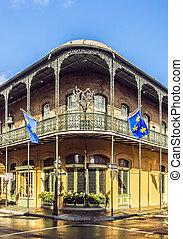 historisk bygning, ind, den, fransk fjerdedel