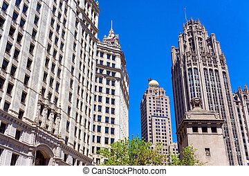 historisk, chicago, skyskrapor