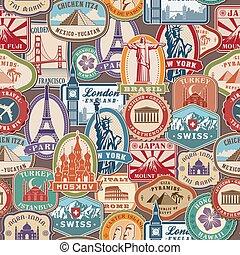 historisk, frimärken, resa, pattern., invandring, klistermärken, dyrkan