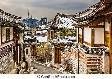 historisk, grannskap, seoul