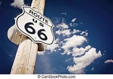 historisk, rutt 66, väg, underteckna