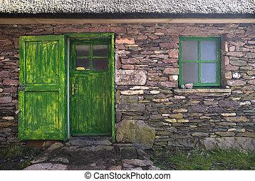 historiske, hytte, dør, og, vindue